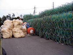 押収された韓国漁船の漁具の写真