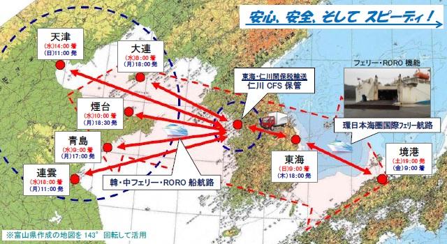 境港~中国渤海ルート図